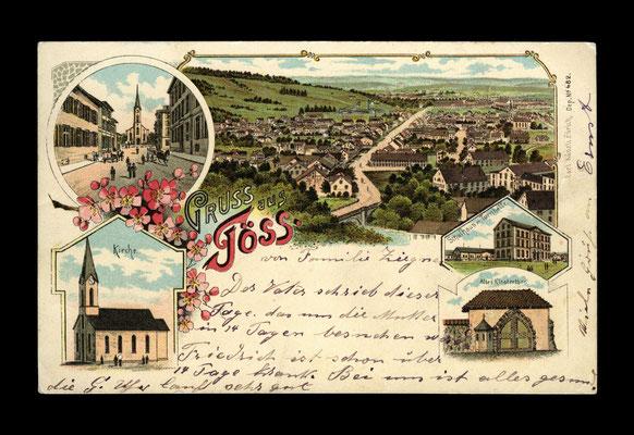 Mehrbild-Lithografie vor 1899,     Töss vom Ebnet - Richtung Stadt