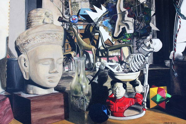 Jo Brouillon, Cadavre exquis, 2012, acrylique sur toile,60x40 cm, série « Intérieurs », ©Photo TF