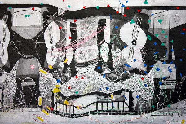 Jo Brouillon, Fallafter Picasso, 2017, crayon criterium sur dessin d'enfant et gommettes, 80x52 cm,série « Dialogues » d'après Mandoline et Guitare de Pablo Picasso (1924), © Photo TF