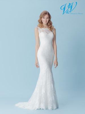 feine weiche Spitze Meerjungfrau Brautkleid hoch geschlossen enganliegend sehr leicht bequem Glitzer ivory