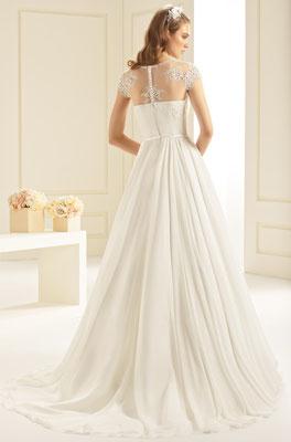 Brautmode München Spitze lang Chiffon fließend myLovely Bianco Evento