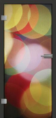 Ganzglastür mit Printmotiv Life 4 | Zarge CPL Anthrazitgrau, Designkante 60 mm | Schlosskasten Modern mit Türgriff Paros Edelstahl