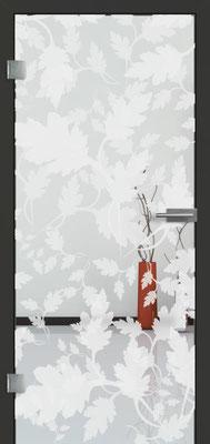 Ganzglastür mit 3D-Motiv Vista 84 | Zarge CPL Anthrazitgrau, Designkante 60 mm | Schlosskasten Modern mit Türgriff Paros Edelstahl