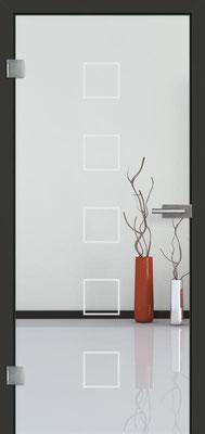 Ganzglastür mit Sandstrahlmotiv Sand 12 | Zarge CPL Anthrazitgrau, Designkante 60 mm | Schlosskasten Modern mit Türgriff Baltrum Edelstahl