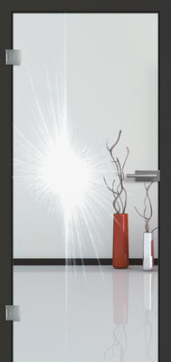 Ganzglastür mit Lasermotive Pikto 11 | Zarge CPL Anthrazitgrau, Designkante 60 mm | Schlosskasten Modern mit Türgriff Paros Edelstahl