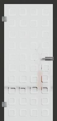 Ganzglastür mit 3D-Motiv Vista 81 | Zarge CPL Anthrazitgrau, Designkante 60 mm | Schlosskasten Modern mit Türgriff Paros Edelstahl