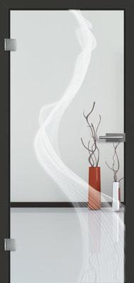 Ganzglastür mit Lasermotive Pikto 12 | Zarge CPL Anthrazitgrau, Designkante 60 mm | Schlosskasten Modern mit Türgriff Paros Edelstahl