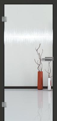 Ganzglastür mit Lasermotive Pikto 1 | Zarge CPL Anthrazitgrau, Designkante 60 mm | Schlosskasten Modern mit Türgriff Paros Edelstahl