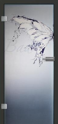 Ganzglastür mit Printmotiv Life 13 | Zarge CPL Anthrazitgrau, Designkante 60 mm | Schlosskasten Modern mit Türgriff Paros Edelstahl