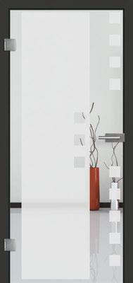 Ganzglastür mit Sandstrahlmotiv Sand 8 | Zarge CPL Anthrazitgrau, Designkante 60 mm | Schlosskasten Modern mit Türgriff Baltrum Edelstahl