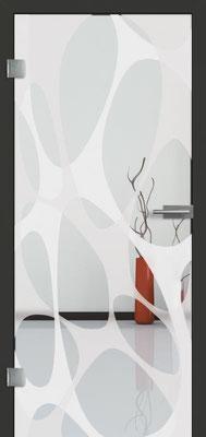 Ganzglastür mit 3D-Motiv Vista 92 | Zarge CPL Anthrazitgrau, Designkante 60 mm | Schlosskasten Modern mit Türgriff Paros Edelstahl