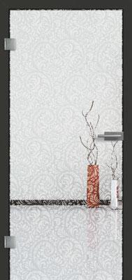 Ganzglastür mit Lasermotive Pikto 19 | Zarge CPL Anthrazitgrau, Designkante 60 mm | Schlosskasten Modern mit Türgriff Paros Edelstahl