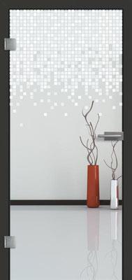 Ganzglastür mit Lasermotive Pikto 9 | Zarge CPL Anthrazitgrau, Designkante 60 mm | Schlosskasten Modern mit Türgriff Paros Edelstahl