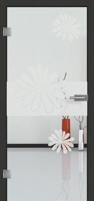 Ganzglastür mit Sandstrahlmotiv Sand 57 | Zarge CPL Anthrazitgrau, Designkante 60 mm | Schlosskasten Modern mit Türgriff Baltrum Edelstahl