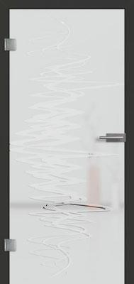 Ganzglastür mit 3D-Motiv Vista 76 | Zarge CPL Anthrazitgrau, Designkante 60 mm | Schlosskasten Modern mit Türgriff Paros Edelstahl