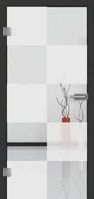 Ganzglastür mit Sandstrahlmotiv Sand 30 | Zarge CPL Anthrazitgrau, Designkante 60 mm | Schlosskasten Modern mit Türgriff Baltrum Edelstahl