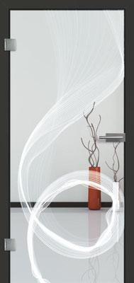 Ganzglastür mit Lasermotive Pikto 13 | Zarge CPL Anthrazitgrau, Designkante 60 mm | Schlosskasten Modern mit Türgriff Paros Edelstahl