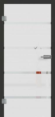 Ganzglastür mit Sandstrahlmotiv Sand 48 | Zarge CPL Anthrazitgrau, Designkante 60 mm | Schlosskasten Modern mit Türgriff Baltrum Edelstahl