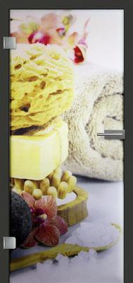 Ganzglastür mit Printmotiv Life 14 | Zarge CPL Anthrazitgrau, Designkante 60 mm | Schlosskasten Modern mit Türgriff Paros Edelstahl