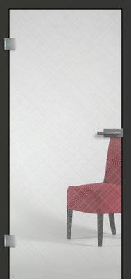 Ganzglastür mit Finelinemotiv Visio 14 | Zarge CPL Anthrazitgrau, Designkante 60 mm | Schlosskasten Modern mit Türgriff Paros Edelstahl