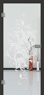 Ganzglastür mit Sandstrahlmotiv Sand 39 | Zarge CPL Anthrazitgrau, Designkante 60 mm | Schlosskasten Modern mit Türgriff Baltrum Edelstahl