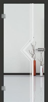 Ganzglastür mit Sandstrahlmotiv Sand 10 | Zarge CPL Anthrazitgrau, Designkante 60 mm | Schlosskasten Modern mit Türgriff Baltrum Edelstahl