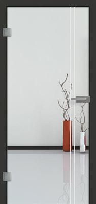 Ganzglastür mit Sandstrahlmotiv Sand 23 | Zarge CPL Anthrazitgrau, Designkante 60 mm | Schlosskasten Modern mit Türgriff Baltrum Edelstahl