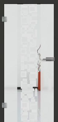Ganzglastür mit 3D-Motiv Vista 71 | Zarge CPL Anthrazitgrau, Designkante 60 mm | Schlosskasten Modern mit Türgriff Paros Edelstahl