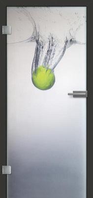 Ganzglastür mit Printmotiv Life 10 | Zarge CPL Anthrazitgrau, Designkante 60 mm | Schlosskasten Modern mit Türgriff Paros Edelstahl