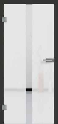 Ganzglastür mit Sandstrahlmotiv Sand 32 | Zarge CPL Anthrazitgrau, Designkante 60 mm | Schlosskasten Modern mit Türgriff Baltrum Edelstahl