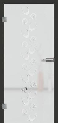 Ganzglastür mit 3D-Motiv Vista 80 | Zarge CPL Anthrazitgrau, Designkante 60 mm | Schlosskasten Modern mit Türgriff Paros Edelstahl