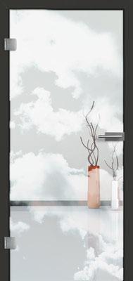 Ganzglastür mit Lasermotive Pikto 18 | Zarge CPL Anthrazitgrau, Designkante 60 mm | Schlosskasten Modern mit Türgriff Paros Edelstahl
