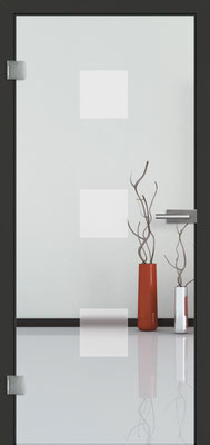 Ganzglastür mit Sandstrahlmotiv Sand 1 | Zarge CPL Anthrazitgrau, Designkante 60 mm | Schlosskasten Modern mit Türgriff Baltrum Edelstahl