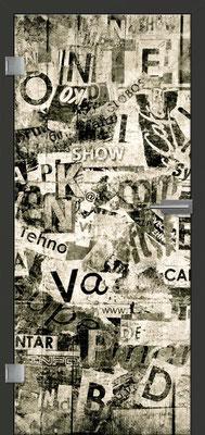 Ganzglastür mit Printmotiv Life 7 | Zarge CPL Anthrazitgrau, Designkante 60 mm | Schlosskasten Modern mit Türgriff Paros Edelstahl