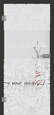 Ganzglastür mit Sandstrahlmotiv Sand 53 | Zarge CPL Anthrazitgrau, Designkante 60 mm | Schlosskasten Modern mit Türgriff Baltrum Edelstahl