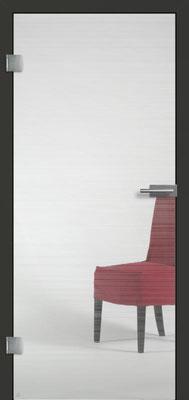 Ganzglastür mit Finelinemotiv Visio 11 | Zarge CPL Anthrazitgrau, Designkante 60 mm | Schlosskasten Modern mit Türgriff Paros Edelstahl
