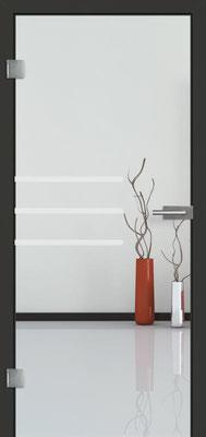 Ganzglastür mit Sandstrahlmotiv Sand 28 | Zarge CPL Anthrazitgrau, Designkante 60 mm | Schlosskasten Modern mit Türgriff Baltrum Edelstahl