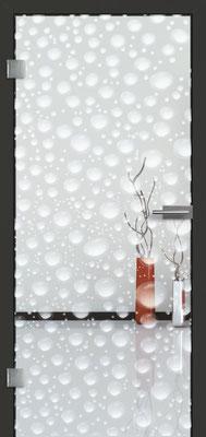 Ganzglastür mit Lasermotive Pikto 17 | Zarge CPL Anthrazitgrau, Designkante 60 mm | Schlosskasten Modern mit Türgriff Paros Edelstahl