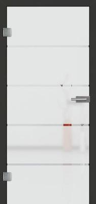 Ganzglastür mit Sandstrahlmotiv Sand 18 | Zarge CPL Anthrazitgrau, Designkante 60 mm | Schlosskasten Modern mit Türgriff Baltrum Edelstahl