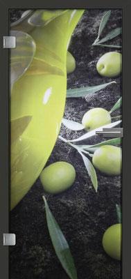 Ganzglastür mit Printmotiv Life 12 | Zarge CPL Anthrazitgrau, Designkante 60 mm | Schlosskasten Modern mit Türgriff Paros Edelstahl