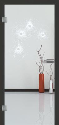 Ganzglastür mit Lasermotive Pikto 4 | Zarge CPL Anthrazitgrau, Designkante 60 mm | Schlosskasten Modern mit Türgriff Paros Edelstahl