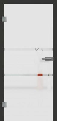 Ganzglastür mit Sandstrahlmotiv Sand 41 | Zarge CPL Anthrazitgrau, Designkante 60 mm | Schlosskasten Modern mit Türgriff Baltrum Edelstahl