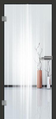 Ganzglastür mit Lasermotive Pikto 16 | Zarge CPL Anthrazitgrau, Designkante 60 mm | Schlosskasten Modern mit Türgriff Paros Edelstahl