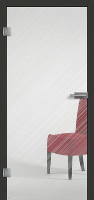 Ganzglastür mit Finelinemotiv Visio 13 | Zarge CPL Anthrazitgrau, Designkante 60 mm | Schlosskasten Modern mit Türgriff Paros Edelstahl