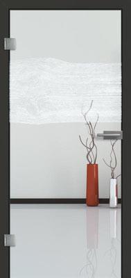 Ganzglastür mit Lasermotive Pikto 6 | Zarge CPL Anthrazitgrau, Designkante 60 mm | Schlosskasten Modern mit Türgriff Paros Edelstahl
