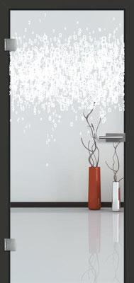 Ganzglastür mit Lasermotive Pikto 8 | Zarge CPL Anthrazitgrau, Designkante 60 mm | Schlosskasten Modern mit Türgriff Paros Edelstahl
