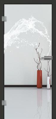 Ganzglastür mit Lasermotive Pikto 7 | Zarge CPL Anthrazitgrau, Designkante 60 mm | Schlosskasten Modern mit Türgriff Paros Edelstahl