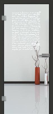 Ganzglastür mit Lasermotive Pikto 3 | Zarge CPL Anthrazitgrau, Designkante 60 mm | Schlosskasten Modern mit Türgriff Paros Edelstahl