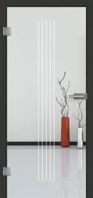 Ganzglastür mit Sandstrahlmotiv Sand 3 | Zarge CPL Anthrazitgrau, Designkante 60 mm | Schlosskasten Modern mit Türgriff Baltrum Edelstahl
