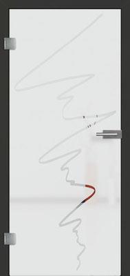 Ganzglastür mit Sandstrahlmotiv Sand 36 | Zarge CPL Anthrazitgrau, Designkante 60 mm | Schlosskasten Modern mit Türgriff Baltrum Edelstahl